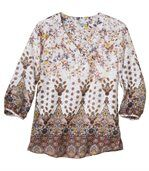 Women's Patterened Blouse - Three Quater Length Sleeves