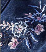 Strečová džínsová bunda s výšivkou preview3