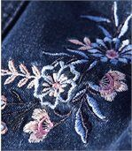 Women's Embroidered Blue Stretch Denim Jacket preview3