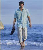 Rozciągliwe spodnie bawełniano-lniane preview2