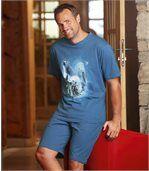 Piżama z szortami z nadrukiem niedźwiedzia polarnego preview1