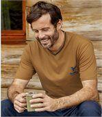 Pack of 3 Men's Outdoor V-Neck T-Shirts - Ecru Ochre Blue