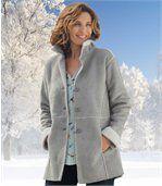 Semišový kabátek s umělou kožešinou preview1