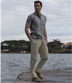 Men's Pale Green Casual Canvas Trousers preview2