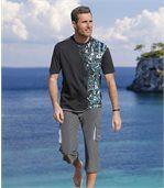 Men's Grey Microfibre Three-Quarter Length Trousers