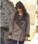 Kabát so semišovým efektom