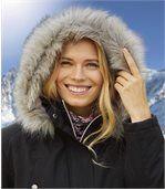Women's Black Weather-Resistant Parka Coat