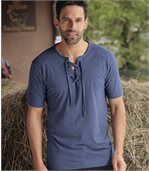 Men's Blue T-Shirt with Lace-Up Neck preview1