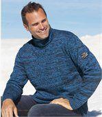 Měkký melírovaný pulovr s rolákem preview1