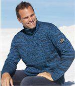 Sweter z dzianiny kolumienkowej z golfem preview1