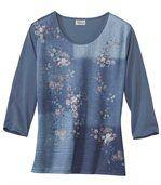 T-shirt met patchwork van bloemen