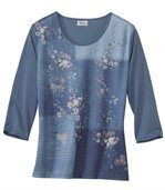 T-Shirt Patchwork mit Blumendekor