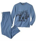 Men's Blue Bear Print Cotton Pyjamas