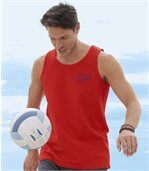 Pack of 3 Men's Palm Tree Vests - Blue Red Navy preview2