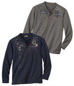 Pack of 2 Men's Terra Del Fuego T-Shirts - Navy Blue Tan preview1