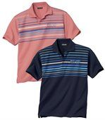 Pack of 2 Men's Jersey Polo Shirts - Navy Blue Pink  preview1