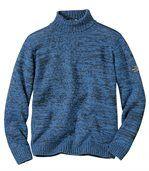 Sweter z dzianiny kolumienkowej z golfem preview2