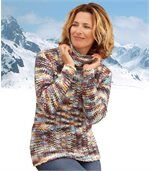 Bunter Strickpullover mit Rollkragen preview1
