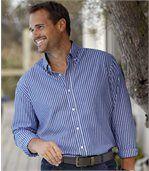 Modrá popelínová košeľa spruhmi preview1