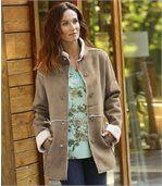 Kabát z umelého semišu a umelej kožušiny