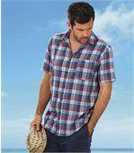 Kostkovaná košile ze směsového materiálu len/bavlna preview1