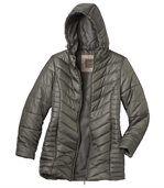 Dlhá prešívaná bunda s kapucňou preview2