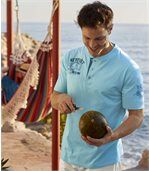 Pack of 2 Men's Button-Neck Tops - Turquoise Blue preview3