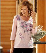 Women's Sparkly Blouse with Floral Motif - Three Quater Length Sleeves