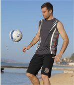 Pack of 2 Men's Sporty Jersey Shorts - Black Grey