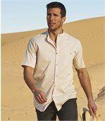 Gestreiftes Hemd mit Stehkragen preview1