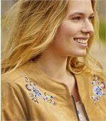 Women's Camel Embroidered Faux Suede Jacket
