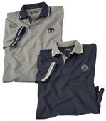 Pack of 2 Pairs of Men's Polo Shirts - Grey Navy Blue