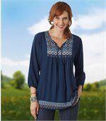 Women's Blue Bohemian Style Blouse preview1