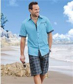 Men's Blue Checked Cargo Shorts  preview2