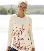 Women's Long Beige Jumper - Floral Motif preview1