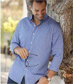 Modrá popelínová košeľa spruhmi preview2
