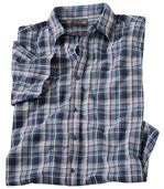 Men's Blue Waffle-Knit Check Shirt preview2