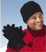 Men's Black Fleece Hat & Gloves Set preview1