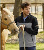 Men's Grey & Black Outdoor Fleece Jacket