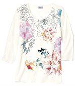 T-shirt met print van pioenrozen