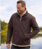 Kurtka z brązowego sztucznego zamszu z kożuszkiem sherpa preview1