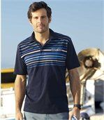 Pack of 2 Men's Jersey Polo Shirts - Navy Blue Pink  preview3
