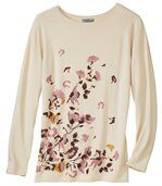 Women's Long Beige Jumper - Floral Motif preview2