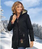 Women's Black Microtech Parka Coat - Atlas For Women preview2