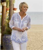 Women's Bohemian Summer Blouse - White Blue preview1