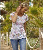 T-shirt met tropische print