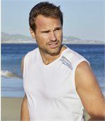 Pack of 3 Men's Sleeveless Sport T-Shirts - White Blue Grey preview2