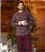 Men's Burgundy Microfleece Pyjamas