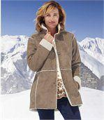 Manteau Femme Beige Suédine doublé Sherpa preview1