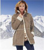 Women' Light Brown Coat - Faux Suede Sherpa Lining preview1
